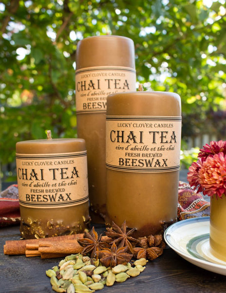 Beeswax Candles, Pillar-Chai Tea