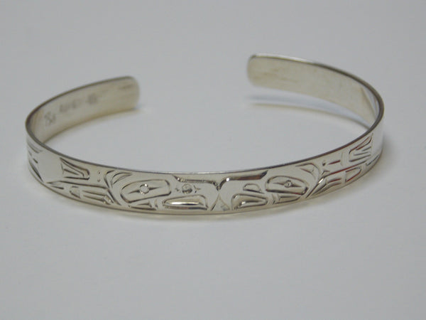 Silver Eagle Bracelet Hand Carved by Ron Sebastian