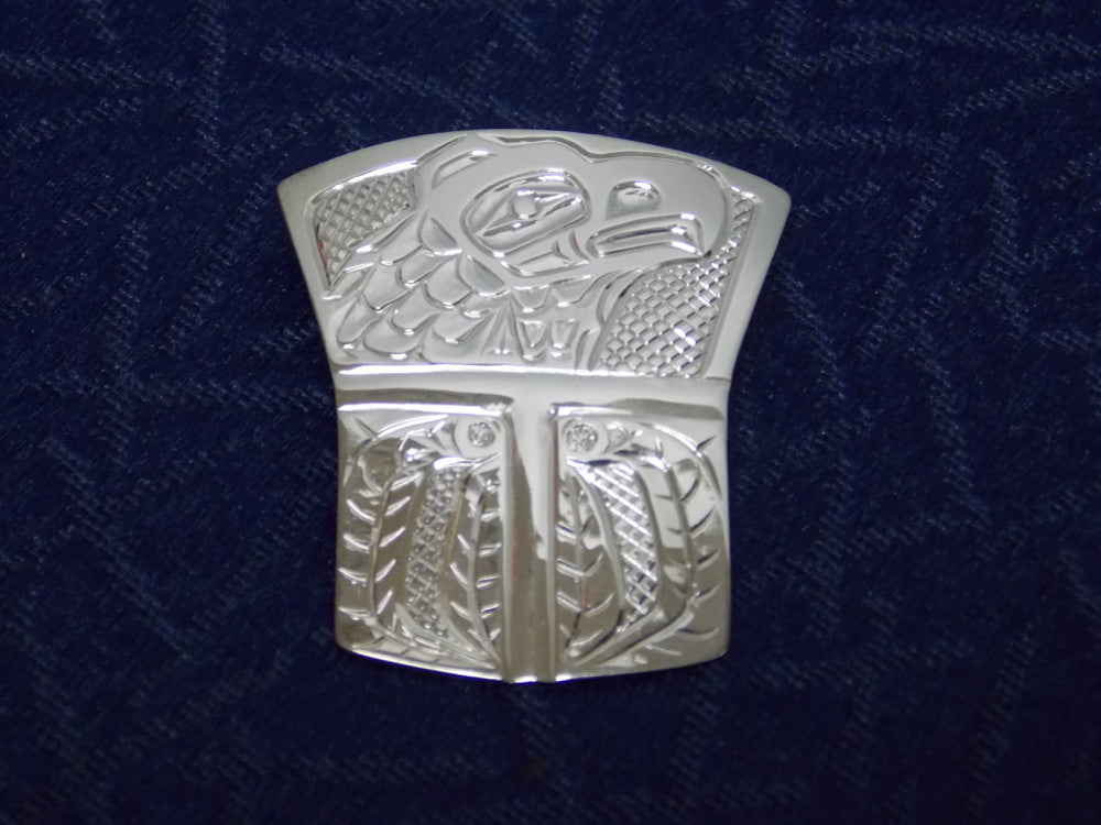 Silver Eagle & Fireweed Pendant Hand Carved by Ron Sebastian