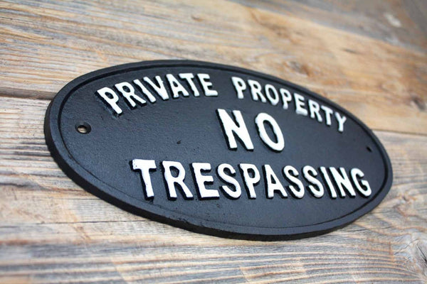 Private Property Plaque, Cast Iron