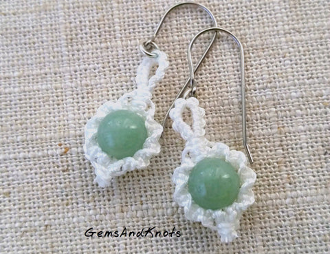Green Aventurine Gemstone Micro Macrame Earrings