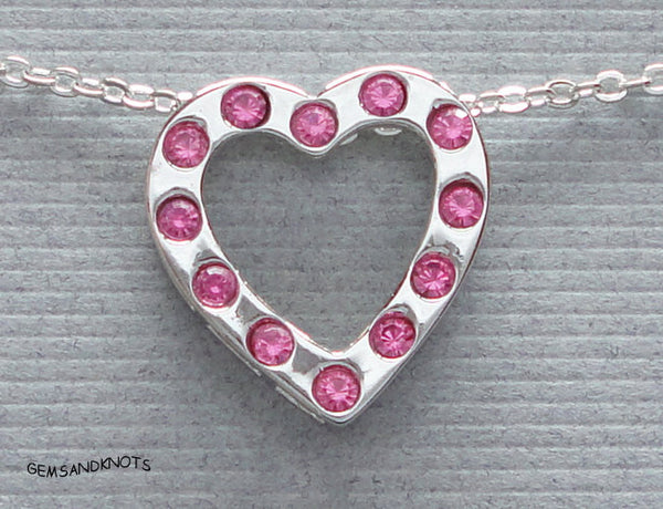 Beau Jewelry Sterling Silver Pink Crystal Heart Necklace