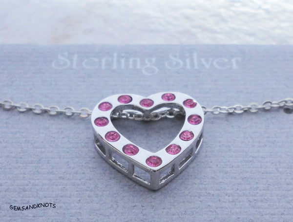 Beau Sterling Silver Pink Crystal Heart Necklace