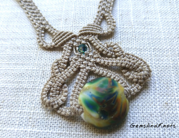 Teal Lampwork Glass Beige Micro Macrame Necklace