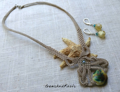 Teal Lampwork Glass Beige Micro Macrame Necklace Set
