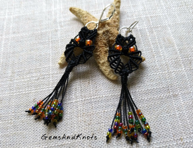 Halloween Black Micro Macrame Owl Earrings