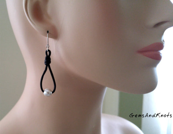 Black White Swarovski Pearl Drop Earrings