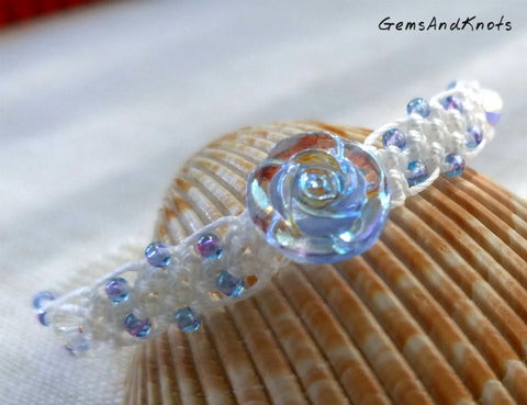 Glass Rose Flower White Micro Macrame Bracelet