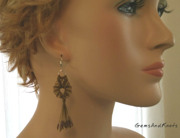 Olive Khaki Macrame Owl Earrings