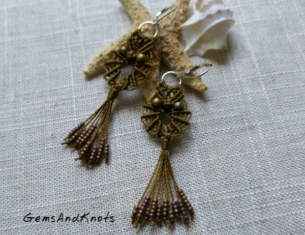 Khaki Boho Macrame Owl Earrings