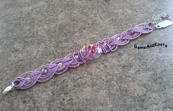 Purple Micro Macrame Bracelet Czech Glass Butterfly