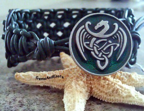 Celtic Dragon Dark Green Leather Macrame Bracelet