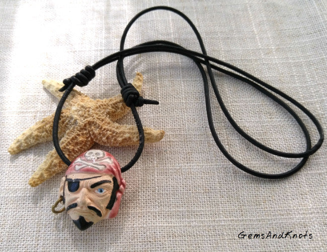 Black Leather Adjustable Pirate Bead Necklace