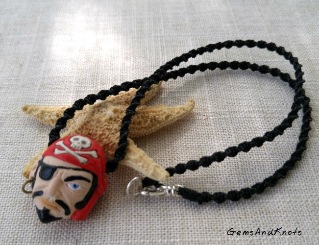 Red Black Pirate Spiral Micro Macrame Necklace