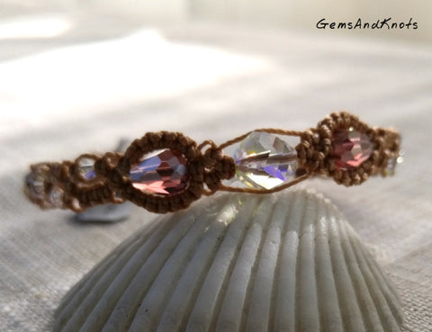 Tan Micro Macrame Bracelet with Crystal Beads