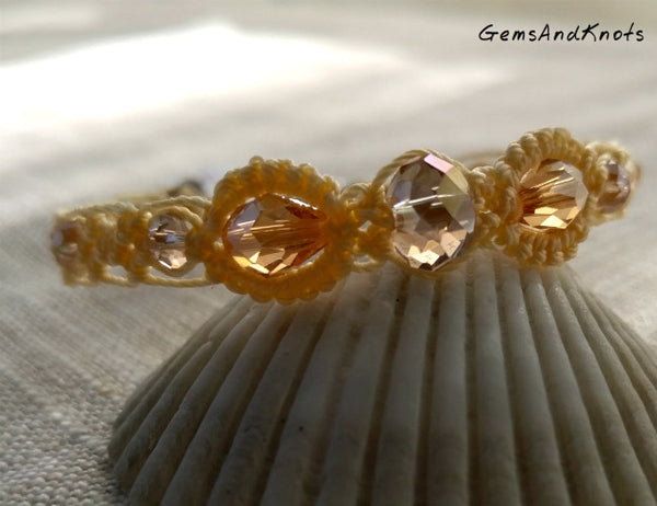 Hand Knotted Citrine Color Crystal Bracelet