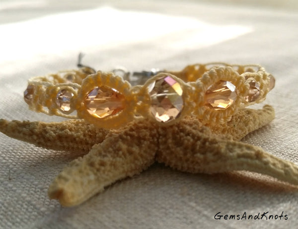 Faceted Crystal Cream Micro Macrame Bracelet