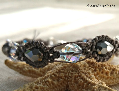 Fancy Grey Crystal Micro Macrame Bracelet