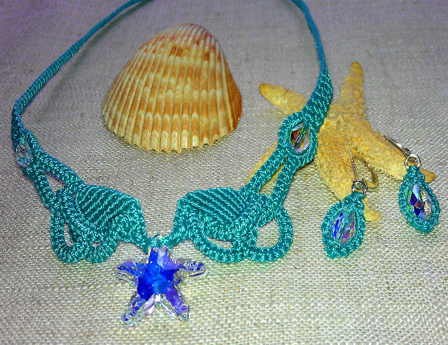 Crystal Starfish Teal Micro Macrame Necklace Set