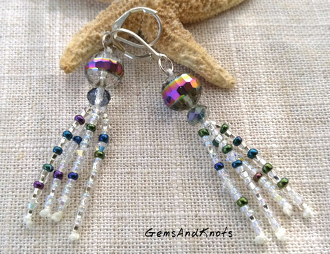 Faceted Crystal Glass Waterfall Sterling Leverback Earrings