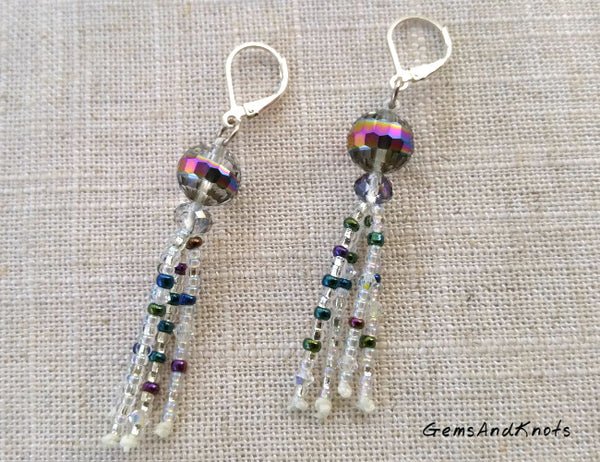 Handmade Disco Ball Glass Sterling Silver Earrings