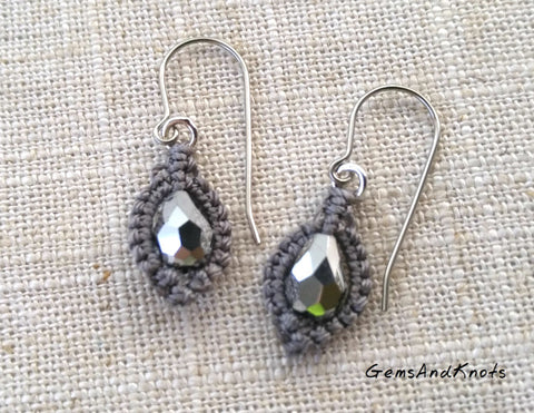 Silver Grey Crystal Teardrop Micro Macrame Earrings