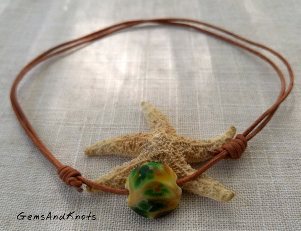 Hand Knotted Adjustable Tan Leather Choker Necklace