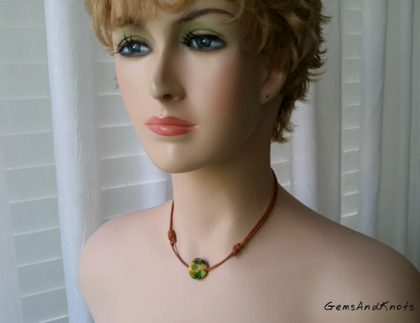 Adjustable Tan Leather Glass Bead Necklace