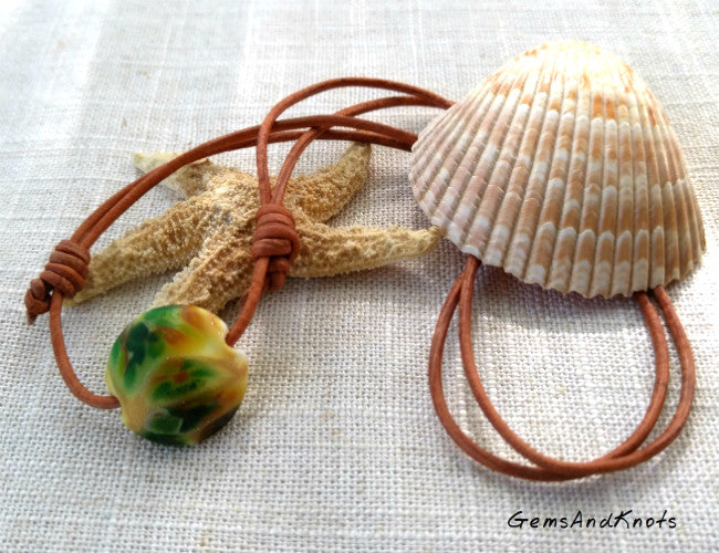 Hand Knotted Adjustable Tan Leather Glass Bead Necklace
