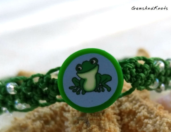 Micro Macrame Bracelet with Green Frog Bead