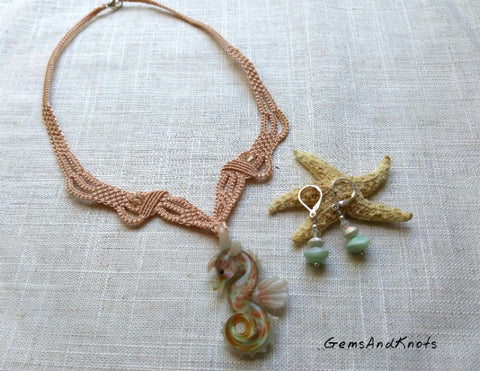 Glass Seahorse Micro Macrame Statement Necklace Set