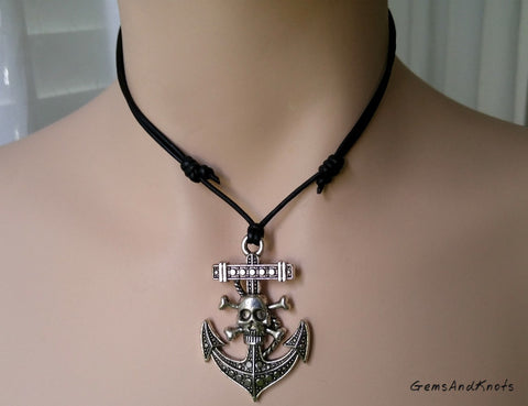 Skull Crossbones Anchor Adjustable Black Leather Necklace