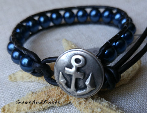 Nautical Anchor Blue Black Leather Wrap Bracelet