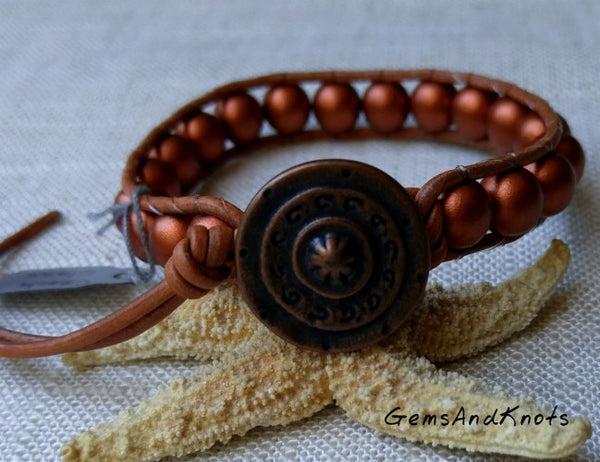 Copper Glass Beads Tan Leather Single Wrap Bracelet