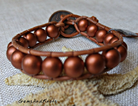 Copper Glass Beads Tan Leather Wrap Bracelet