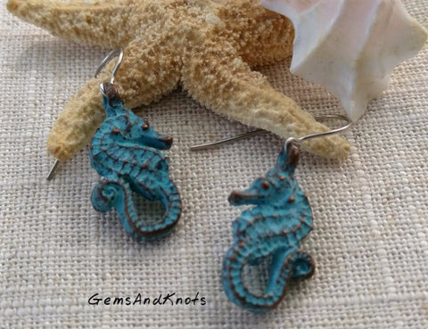 Verdi Green Turquoise Seahorse Dangle Earrings