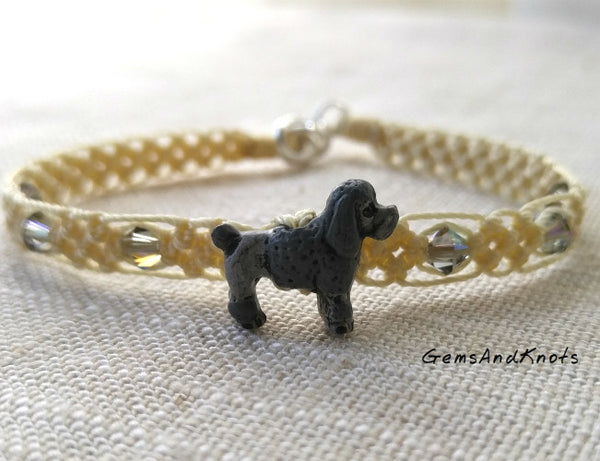 Made in USA Micro Macrame Bracelet with Poodle Dog