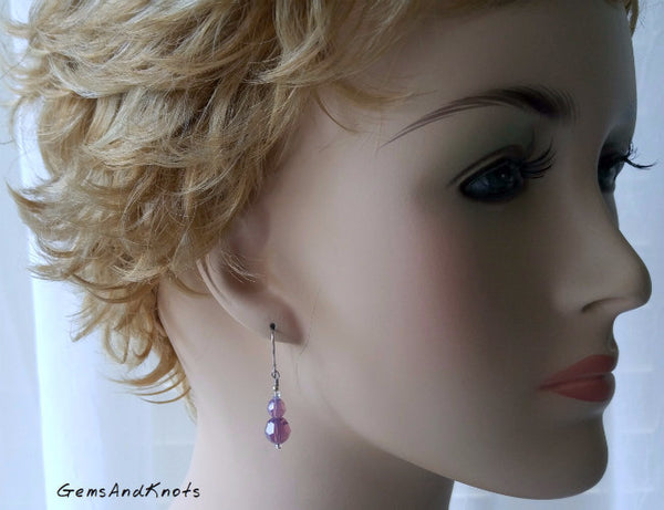 Dangle Earrings with Cyclamen Opal Swarovski Crystal Beads