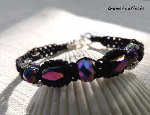 Fancy Purple Glass Black Micro Macrame Bracelet