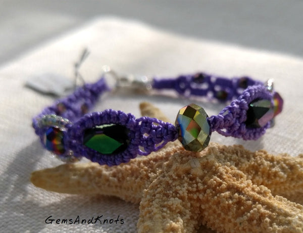 Fancy Purple Hand Knotted Micro Macrame Bracelet