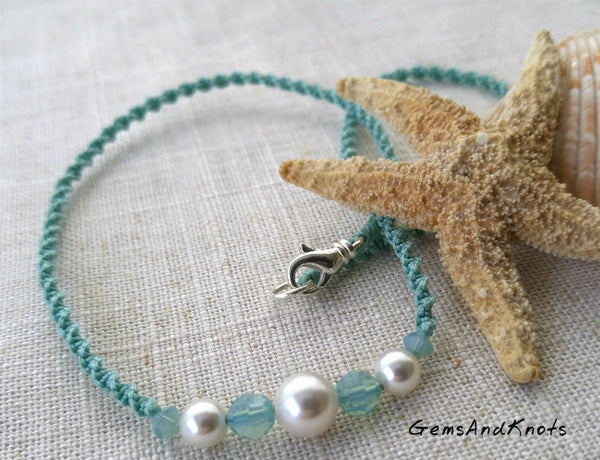 Seafoam Spiral Macrame Necklace with Swarovski Crystal