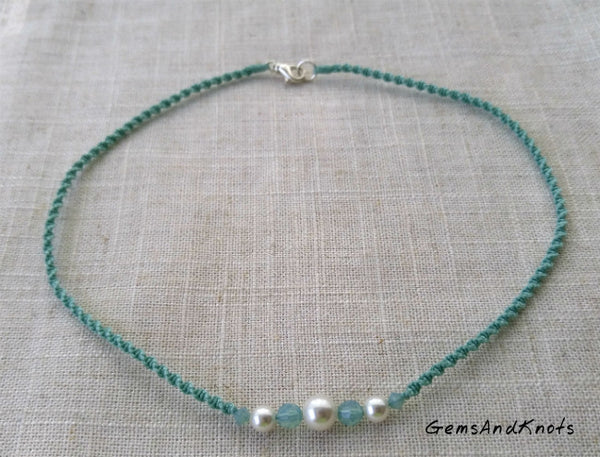 Hand Knotted Seafoam Spiral Micro Macrame Necklace