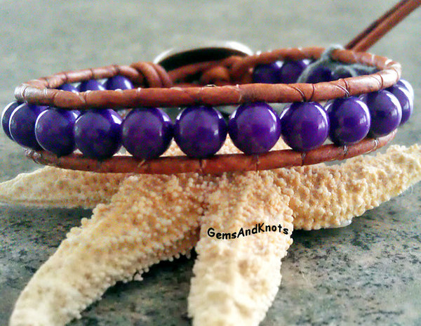 Silver Bear Claw Purple Beads Tan Leather Bracelet