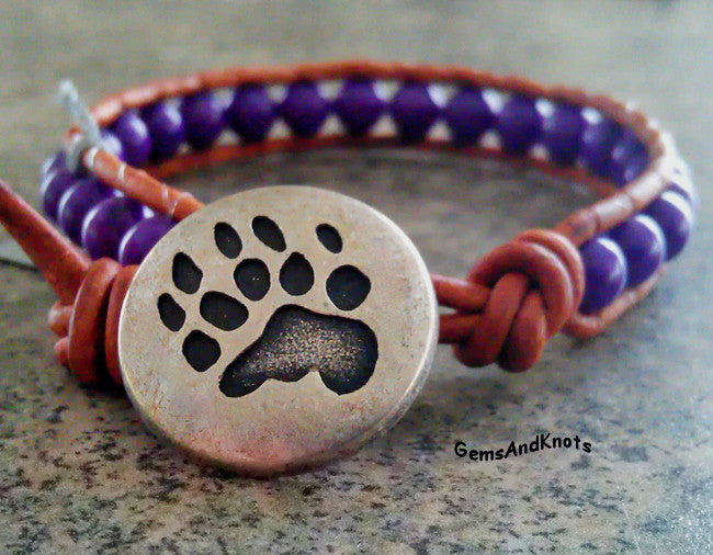 Silver Bear Claw Purple Beads Tan Leather Wrap Bracelet