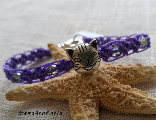 Hand Knotted Purple Macrame Silver Cat Bracelet