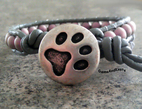 Pewter Dog Paw Grey Leather Wrap Bracelet Purple Beads