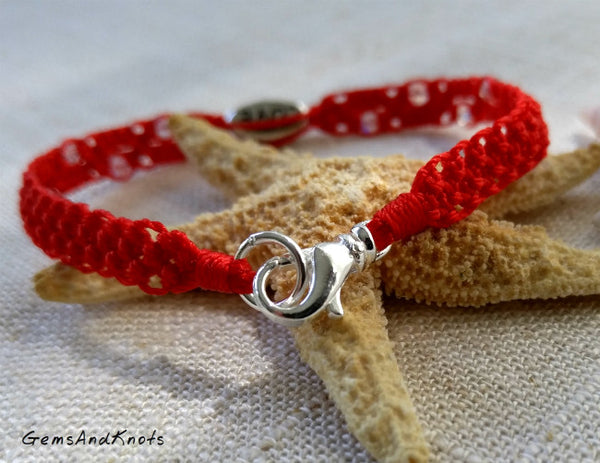 Hand Knotted Red Micro Macrame Bracelet