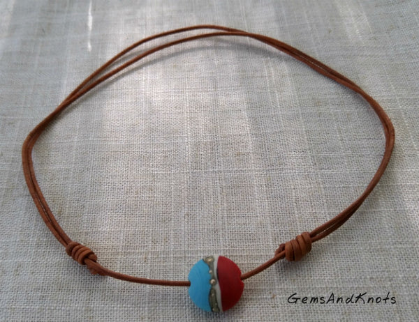 Adjustable Tan Leather Turquoise Red Lampwork Necklace