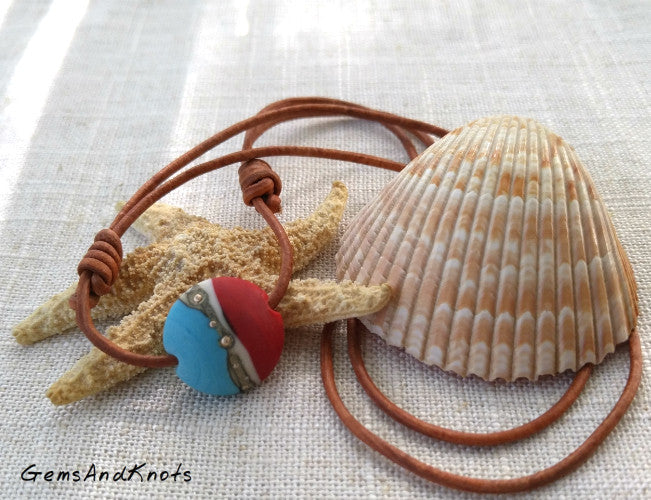 Adjustable Tan Leather Turquoise Red Glass Bead Necklace
