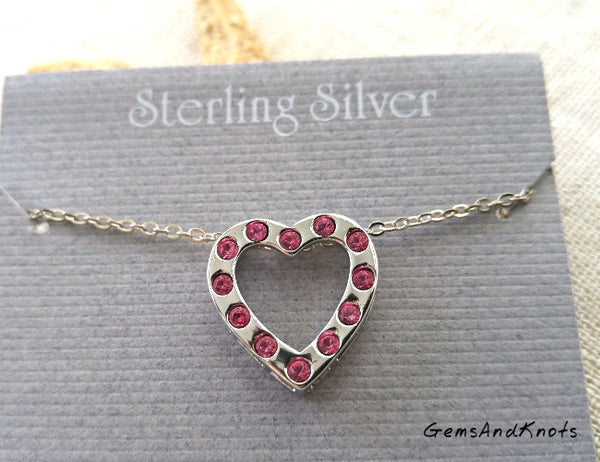 Vintage Beau Sterling Silver Pink Crystal Heart Necklace